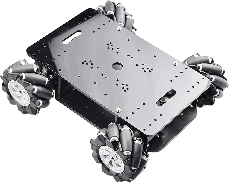 SFUO Cheap 5kg Cargar Double Chasis Mecanum Robot Robot Kit con 4pcs Encoder Motor Fit para Arduino STM32 Raspberry Pi DIY Stem Juguete