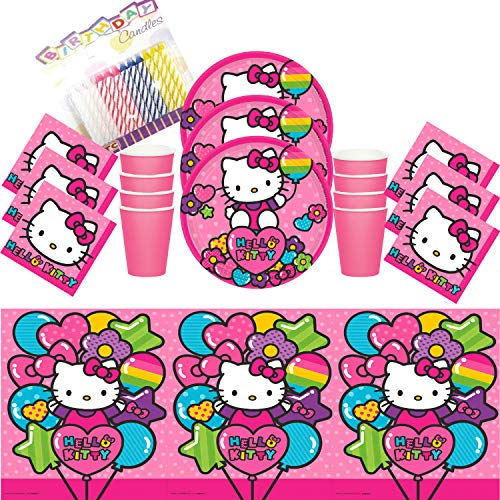 Hello Kitty Rainbow Party Dessert Plates Beverage Napkins Cups and Table Cover Serves 16 - Hello Kitty Party Supplies Pack (Bundle for 16)]()