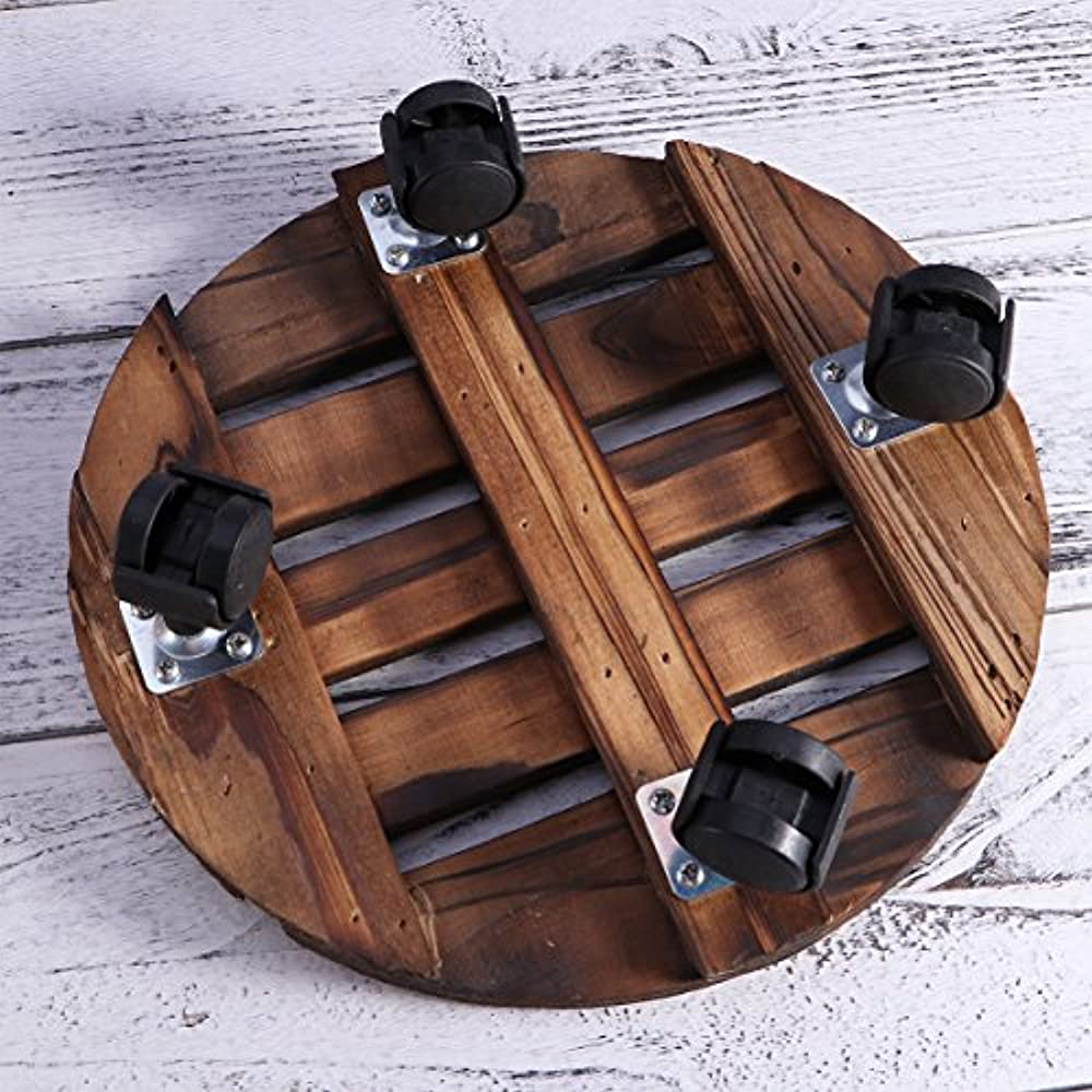 Wooden Movable Potted Plant Round Flower Stand With Wheels