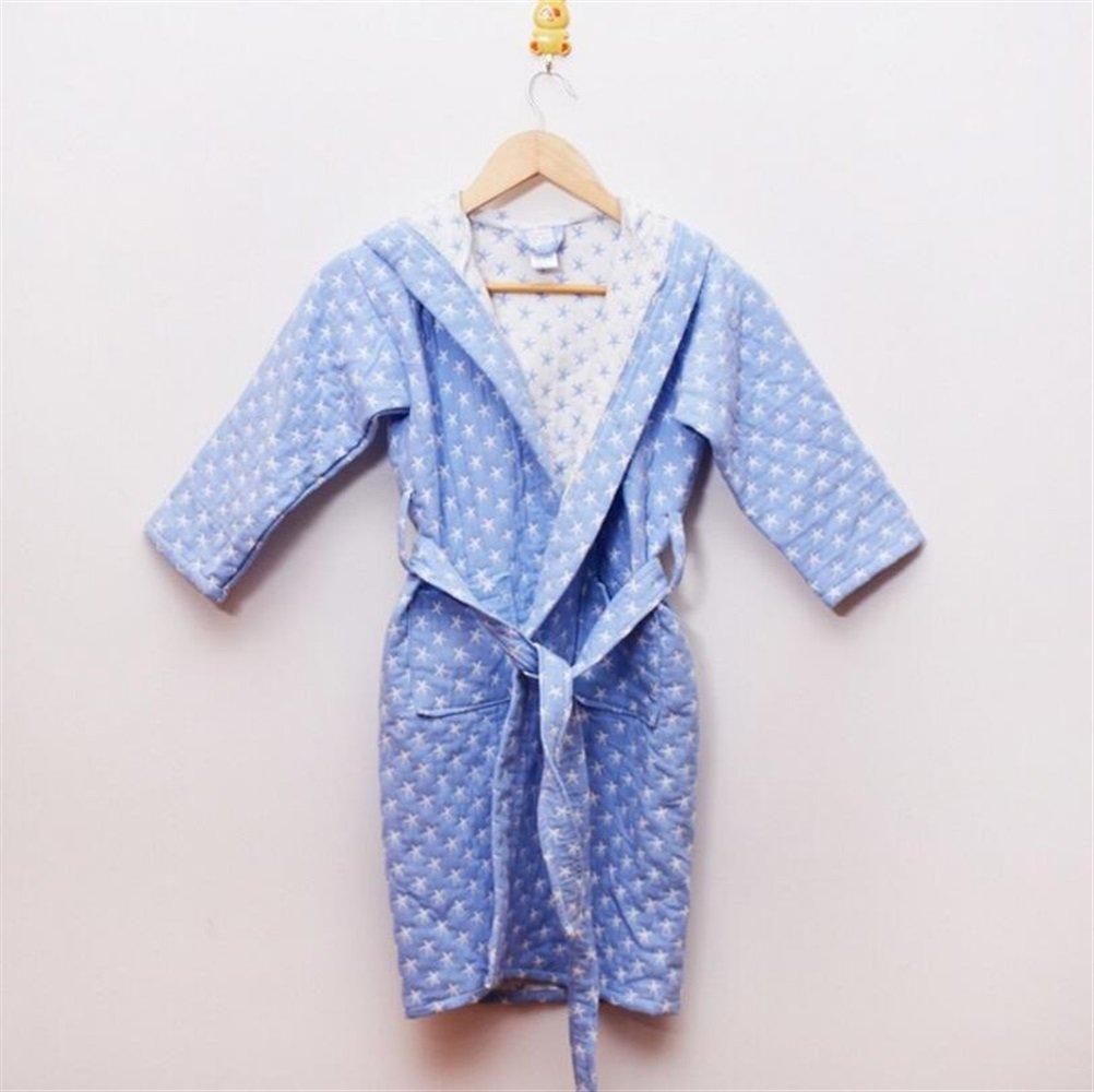 Yhcean Frottee-Bademantel Kinder verdickte Baumwolle Kapuzen Bademantel Nachtwäsche Badetuch Bademode Sterne Muster Wrap Nachtwäsche (Farbe : Blau)