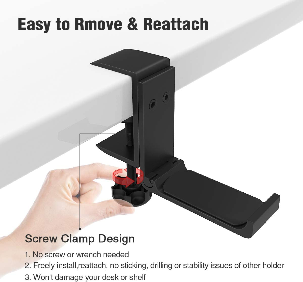 Universal Fit All Headphones Foldable Headphone Stand Hanger Holder Bracket Aluminum Headset Soundbar Stand Clamp Hook Under Desk Space Save Mount Fold Upward Not in Use Black