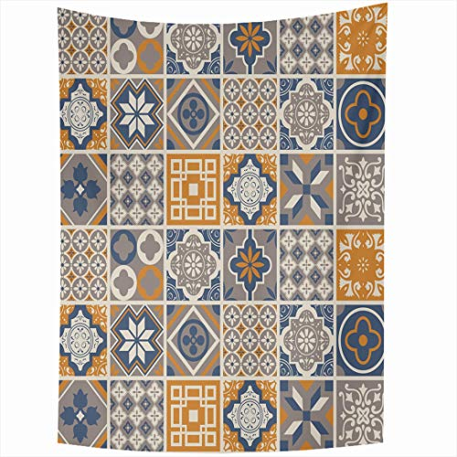 Ahawoso Tapestry 60x90 Inch Blue Moroccan Pattern Vintage Brown Graphic Mosaic Spanish Abstract Arabesque Design Wall Hanging Home Decor for Living Room Bedroom Dorm