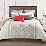 3pc Tan Blue Red Off White South West Aztc Theme Duvet Cover King Set, Southwest Indie Hippy Themed Pattern, Cotton, Ikt Zig Zag Triangle Hippie Bedding