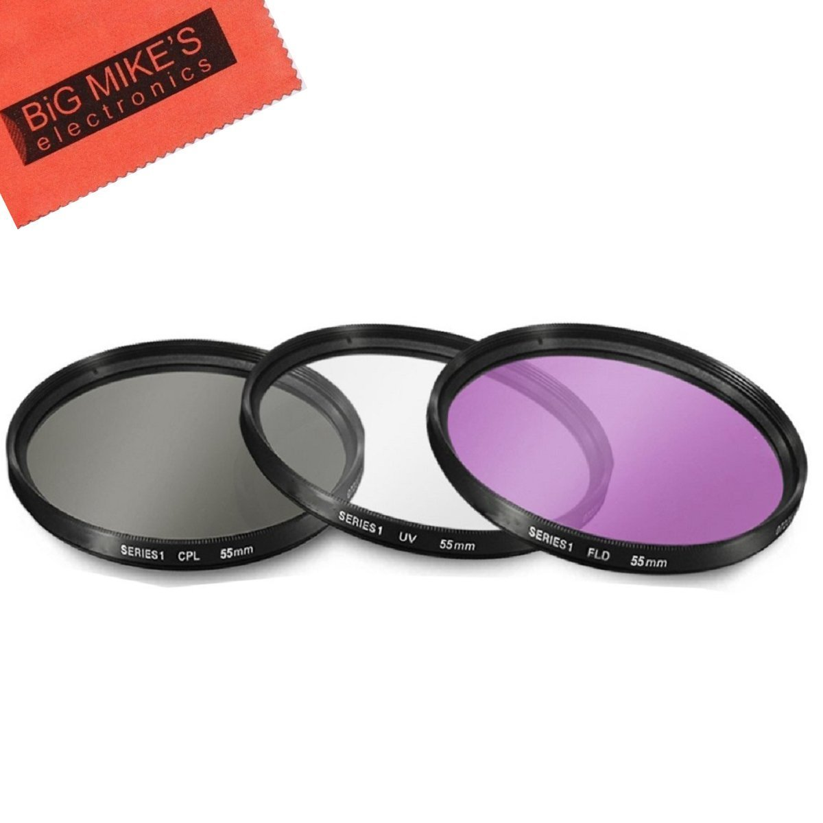 55mm Multi-Coated 3 Piece Filter Kit (UV-CPL-FLD) for Nikon Nikon D3400. D5600 with 18-55MM AF-P DX, DL24-500 f/2.8-5.6 Digital Camera + MicroFiber Cleaning Cloth by Big Mike's