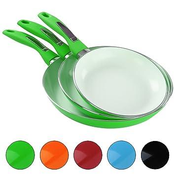 Jago - Juego de 3 sartenes con recubrimiento de cerámica en color verde: Amazon.es: Hogar