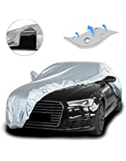 Tecoom Hard Shell Breathable Material Door Shape Zipper Design Waterproof UV-Proof Windproof Car Cover for All Weather Indoor Outdoor Fit 160-172 inches Hatchback