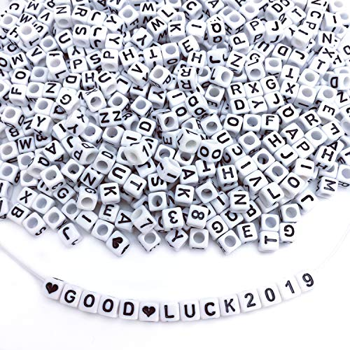 Amaney 800pcs 6×6mm White Cube Acrylic Alphabet Letter Beads A-Z Include 80pcs Heart and Number Beads for Jewelry Making Bracelets Necklaces Key Chains and Kids Jewelry Each Letter Included - Heart Alphabet Bead