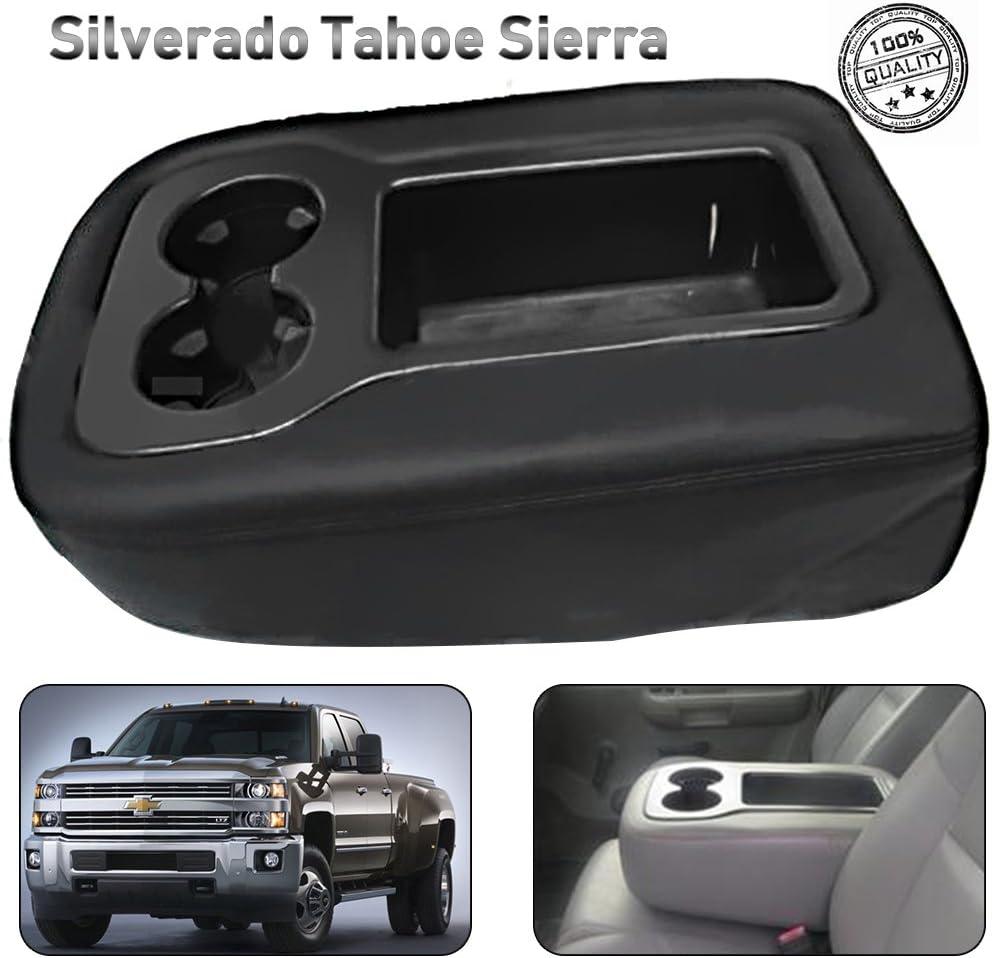 Saihisday Microfiber Leather Console Lid Jump Seat Armrest Cover Black for Chevrolet Silverado Tahoe Suburban GMC Yukon Sierra 2007-2013