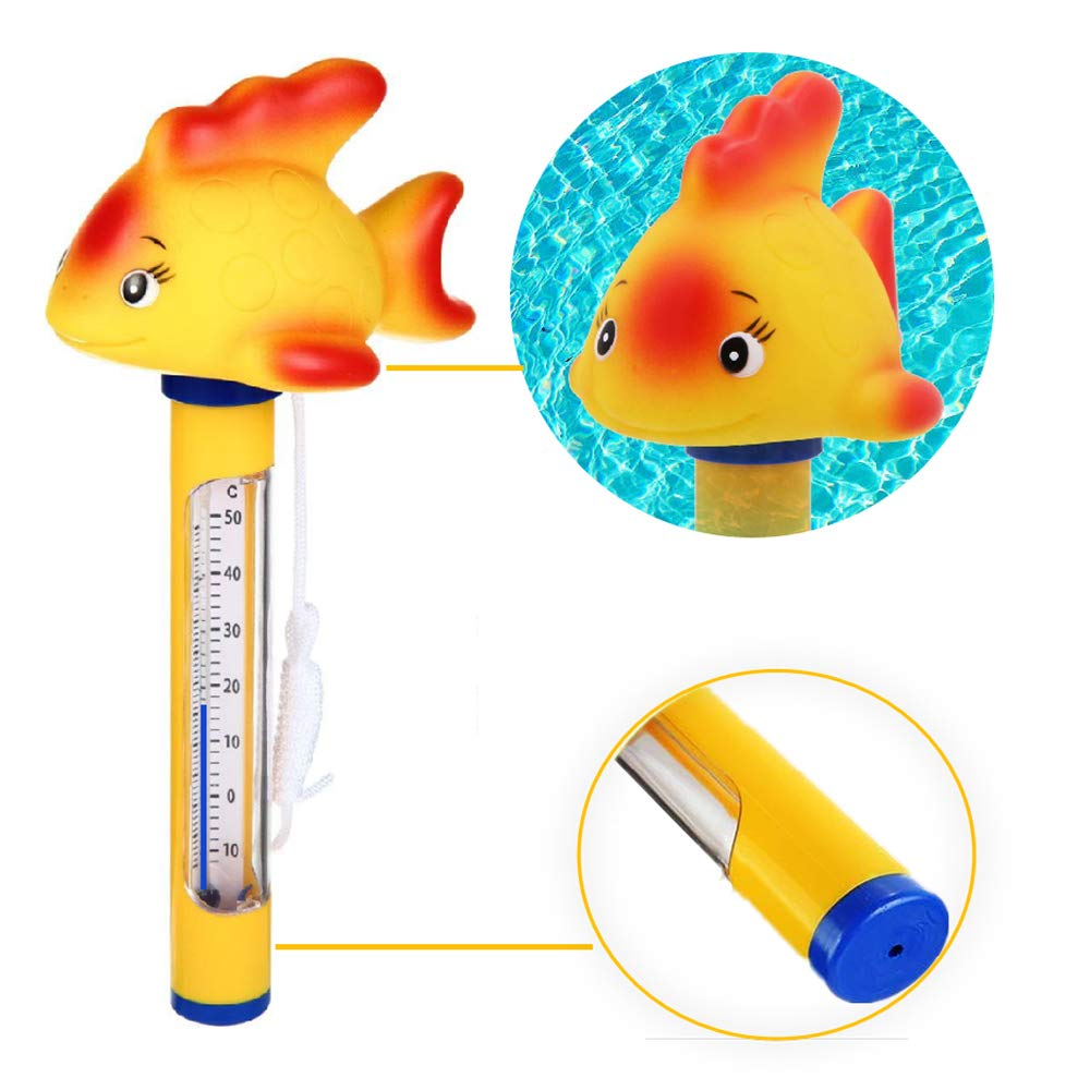 Floating Swimming Pool Thermometer, Hofun Swimming Pool Water Thermometer with String, Outdoor Water Temperature Meter for Swimming Pool, Bath Water, Spas, Hot Tubs, Aquariums and Fish Ponds (10-120℉) by Hofun