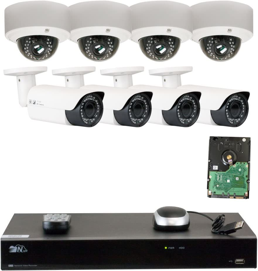 GW Security 8 Channel H.265 4K NVR 5-Megapixel 2592 x 1520 4X Optical Zoom Network Plug Play Security System, 8pcs 5MP 1920p 2.8-12mm Motorized Zoom POE Weatherproof Bullet Dome IP Cameras