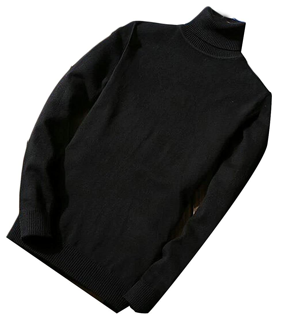xtsrkbg Mens Turtleneck Long Sleeve Slim Fit Knit Comfy Pullover Sweater
