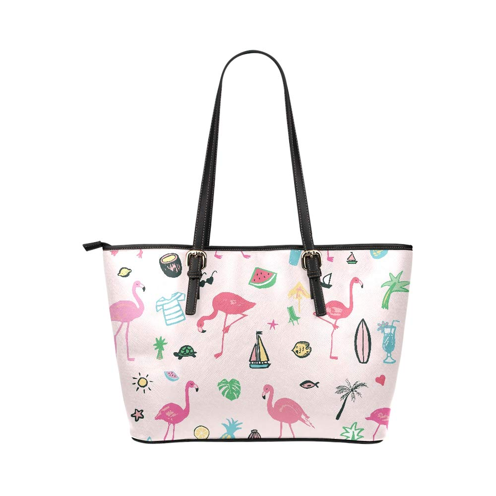 Tropical Flamingo Animal Pink Color Large Soft Leather Portable Top Handle Hand Totes Bags Causal Handbags With Zipper Shoulder Shopping Purse Luggage Organizer For Lady Girls Womens Work