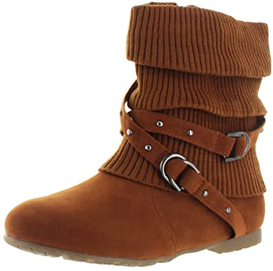 Amazon.com | Womens Ankle Boots Slouch Knitted and Suede Cross ...