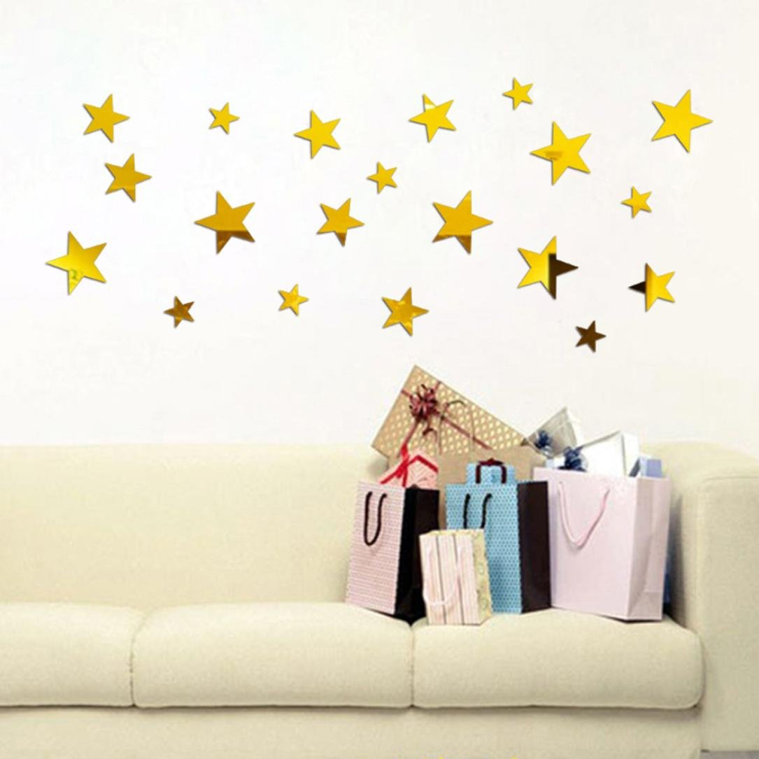 Clearance/ Bluester 20PCS Star Art Mirror Wall Sticker Acrylic Surface Decal Home Room DIY Art Decor (Black)