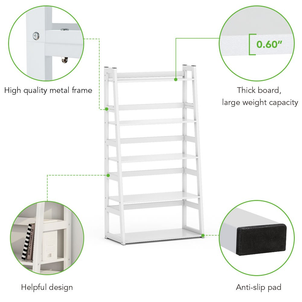 Tribesigns 5-Tier Bookshelf Modern Bookcase, Freestanding Leaning Ladder Shelf, Ample Storage Space for CD, Books, Home Decor (White) by Tribesigns (Image #5)