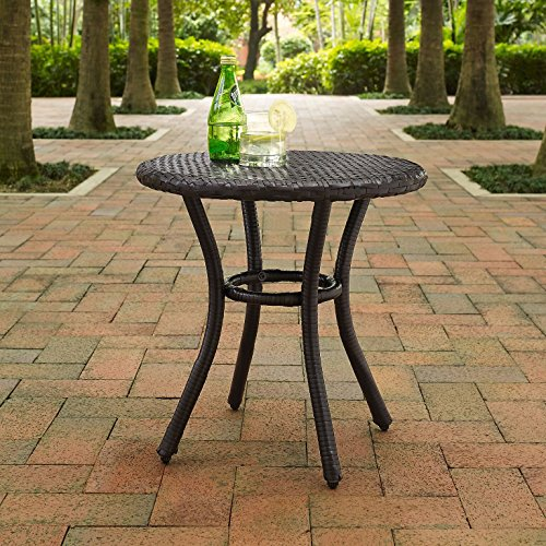 Crosley Furniture Palm Harbor Outdoor Wicker Side Table - Brown