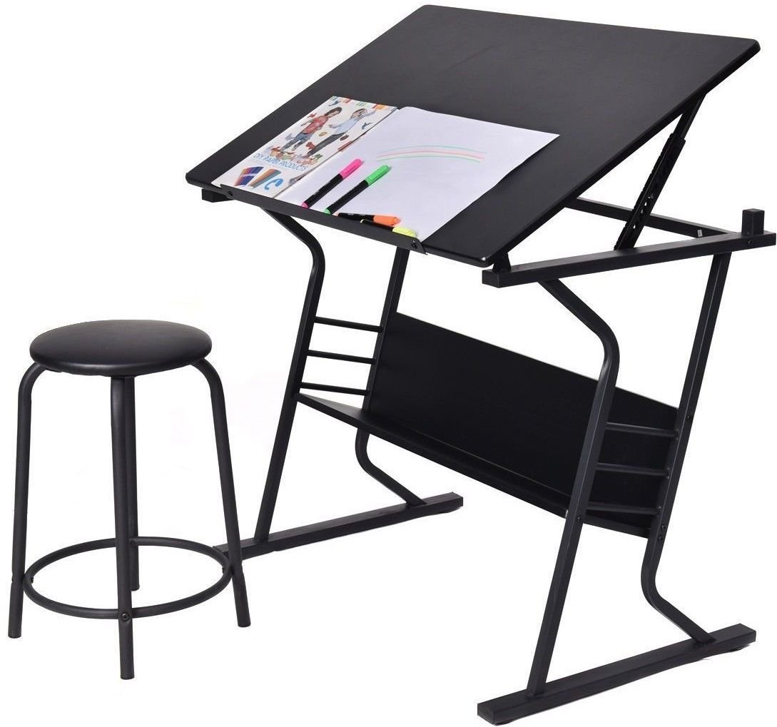 Display4top Tiltable Tabletop Drafting Desk Drawing Table Desk Adjustable Height w/Stool, Fine Art, Course Work, Architects/Engineering, Painting and Various Craft Uses (Black)