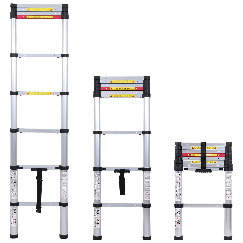 WolfWise 3.2M Escalera telesc/ópica 330 lb // 150 kg Negro Extensi/ón telesc/ópica de aluminio Escalera alta multifuncional para loft 3.2 M