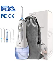 Water Flosser for Teeth,[2019 Upgraded] Portable Cordless Dental Oral Irrigator with 300ml Reservoir and 5 Jet Nozzles, USB Rechargeable, 3 Water Pressure and FDA Approved
