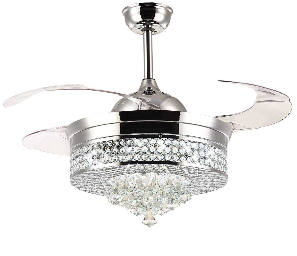 Moooni Dimmable Retractable Ceiling fans with lights and Remote Invisible Crystal Led Chandelier Fan Fandelier Ceiling Fans 42 Polished Chrome