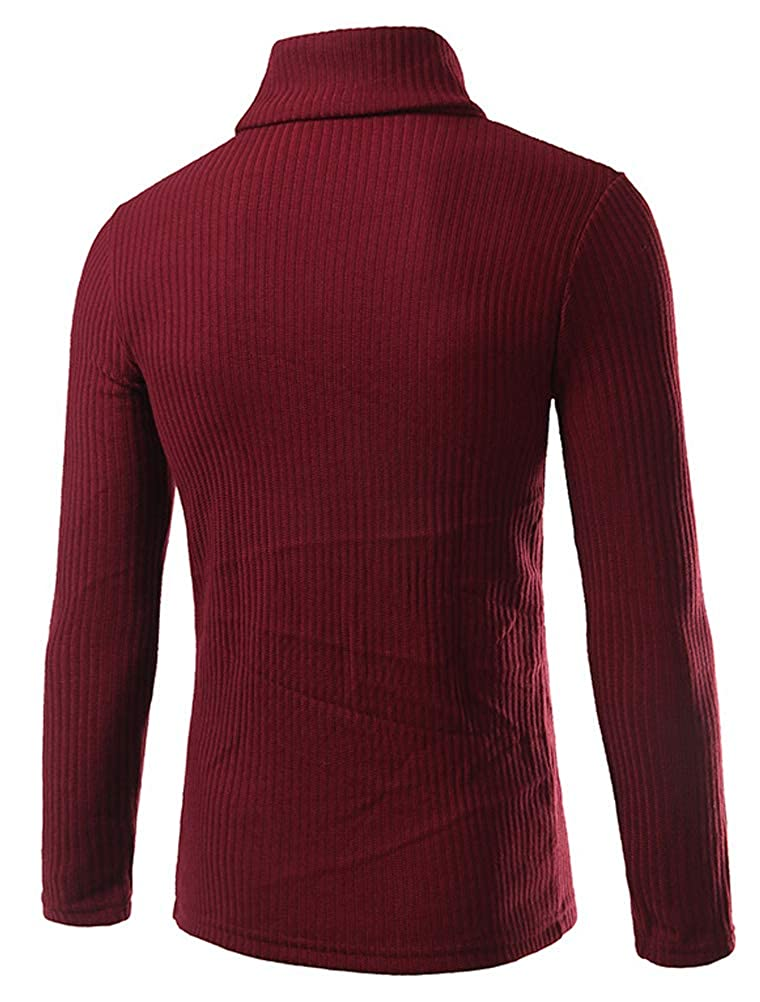 ROBO Mens Soft Knitted Sweaters Casual Slim Fit Turtleneck Pullover