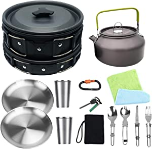 Bisgear Camping Cookware Kettle Heavy 18/8 Dinner Plate Pot Pan Mess Kit Stainless Steel Cup Utensil Backpacking Gear Bug Out Bag Cooking Equipment Picnic Cookset Carabiner & Fire Starter for 2 Person
