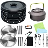 Bisgear Camping Cookware 18/8 Plates Outdoor Stove Kettle Pot Pan Mess Kit Stainless Steel Cup Utensil Backpacking Gear…