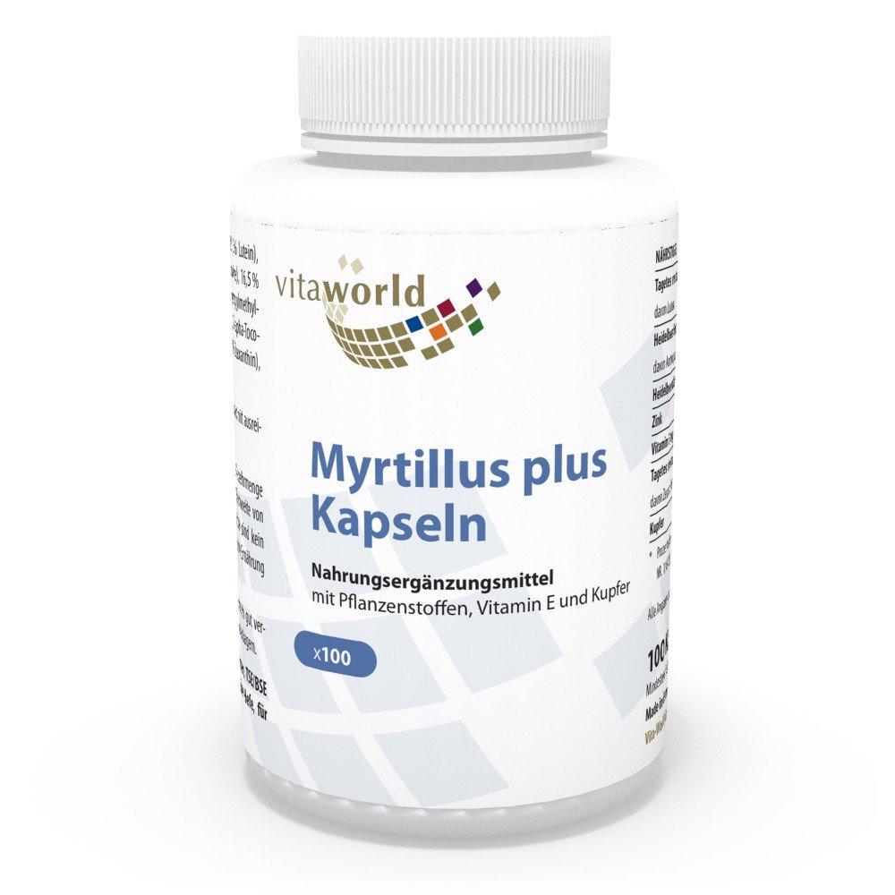 Arándanos / Blueberry Plus 100 Cápsulas Vita World Producción Farmacia Alemania: Amazon.es: Salud y cuidado personal