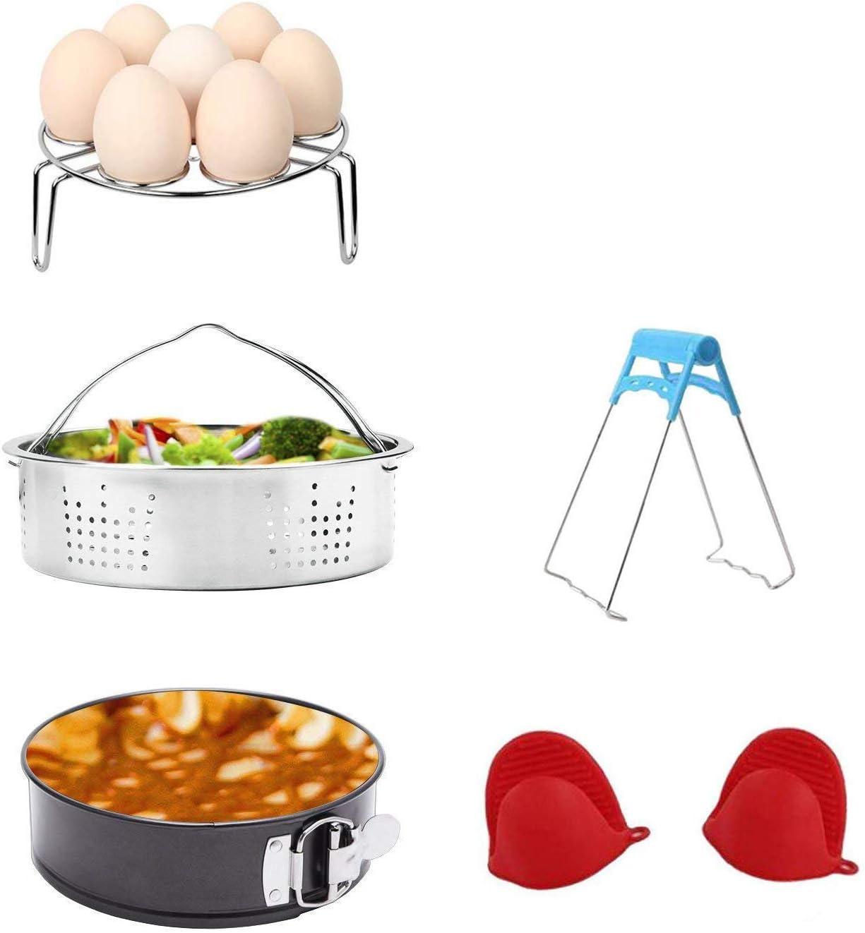 Juego de accesorios para ollas instantáneas con cesta de vapor/huevo para vaporizador/bandeja antiadherente de muelles/soporte de equipamiento/1 par de manoplas de silicona para olla de cocina, 5 piezas, apto para ollas de