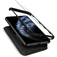 Spigen Thin Fit 360 Serisi Kılıf iPhone 11 Pro Max ile Uyumlu/Tempered Glass Cam Koruyucu - Black