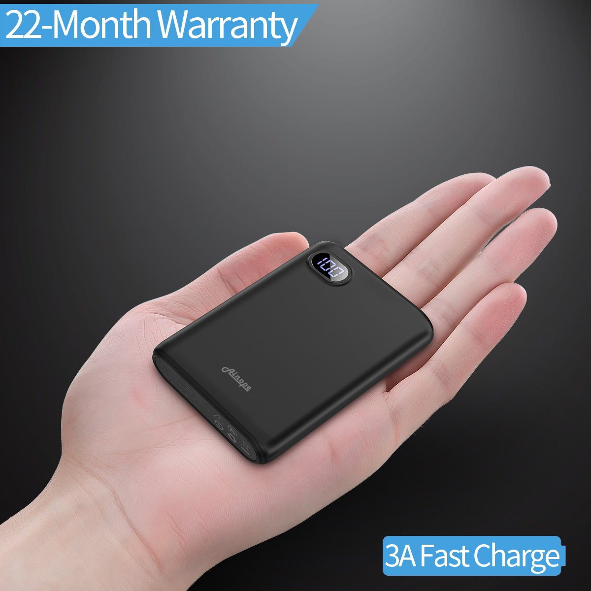 10000mAh Portable Charger,(Smallest) (LCD Display) (Powerful) Ainope External Battery Pack/Battery Charger/Phone Backup Power Bank with Dual USB Output(3.1A),Perfect Carry for Travel-Black by Ainope (Image #1)