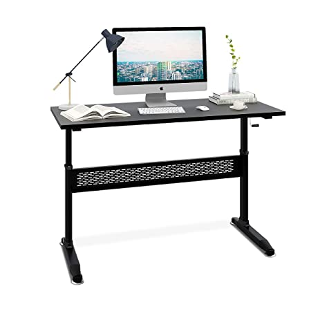 DEVAISE Manual Height Adjustable Standing Desk – Steel Ergonomic Desk with Side Crank Black