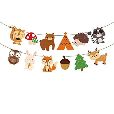 Woodland Creature Birthday Party Supplies, Forest Friend Animal Woodland Animal Garland Bunting Banner Woodland Theme Baby Shower Birthday Party Supplies Favor: Health & Personal Care