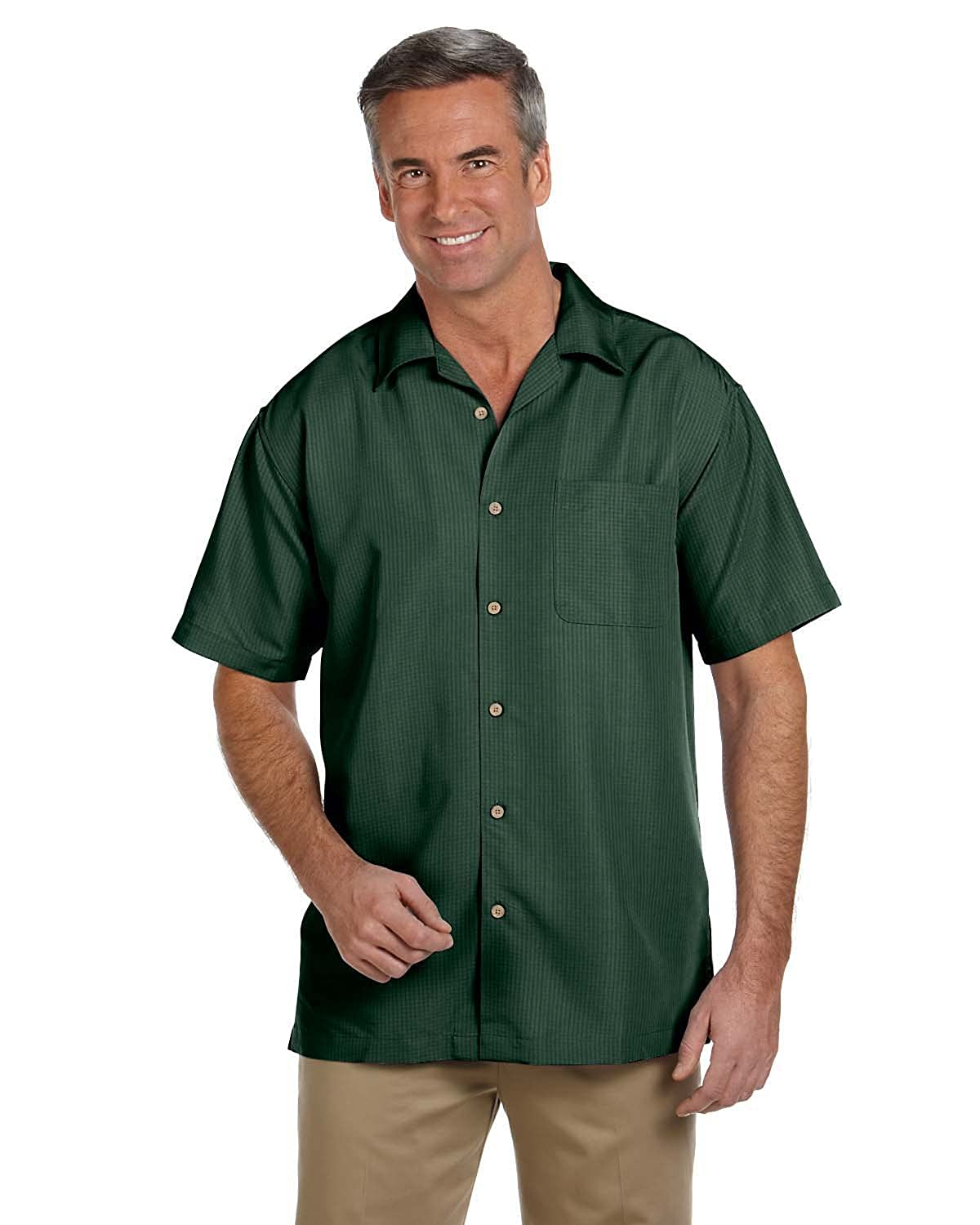M560 Harriton Mens Barbados Textured Camp Shirt PALM GREEN