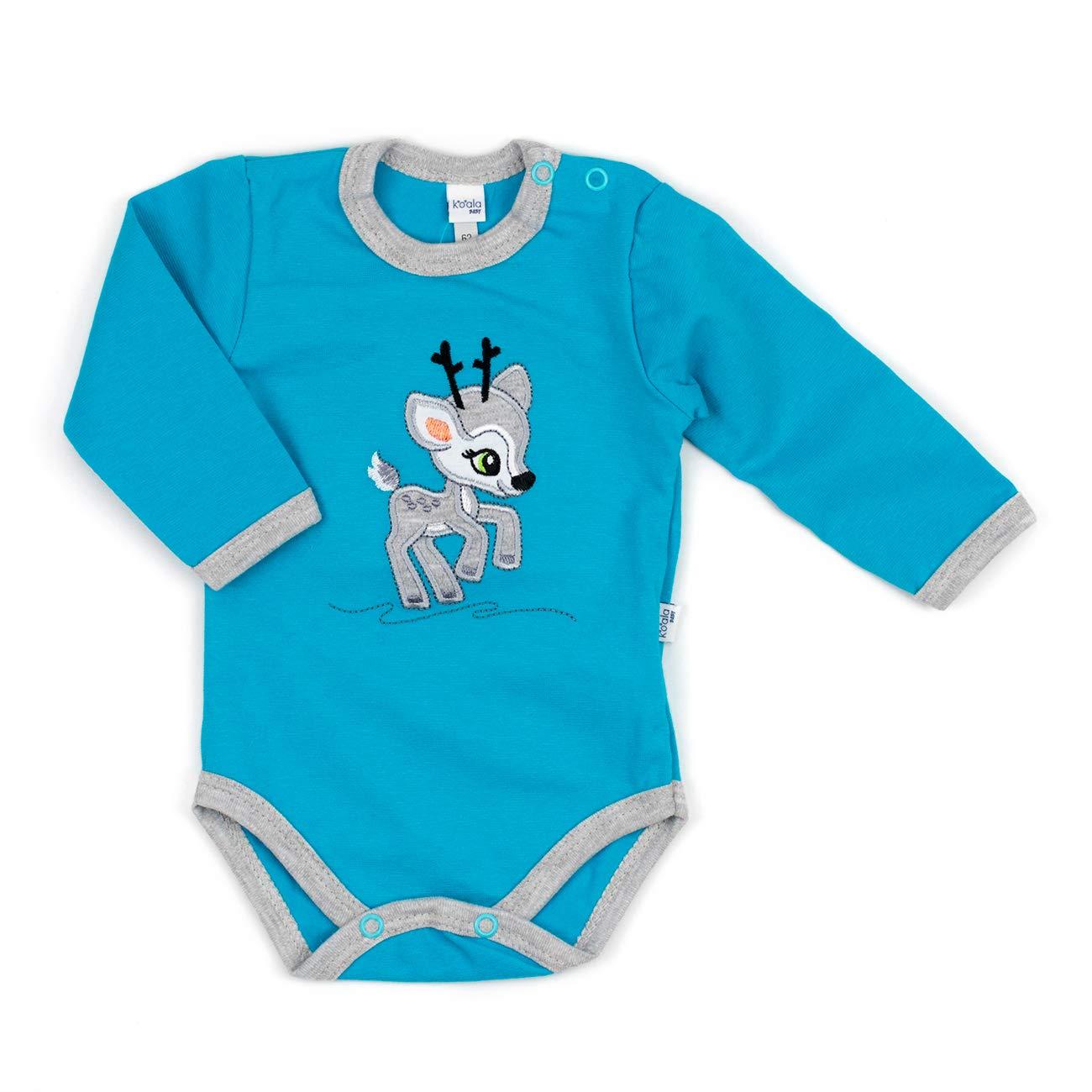 Baby Langarmbody Jungen blau | Motiv: Reh | Marke: Koala Baby | Babybody mit Rehkitz für Neugeborene & Kleinkinder | Größe: 1 Monat (56)