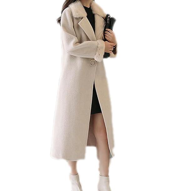 Abrigo De Mujer Otoño E Invierno Nueva Moda Hebilla Oscura Abrigo Largo Abrigo De Manga Larga Solapa, Beige-XXL: Amazon.es: Ropa y accesorios