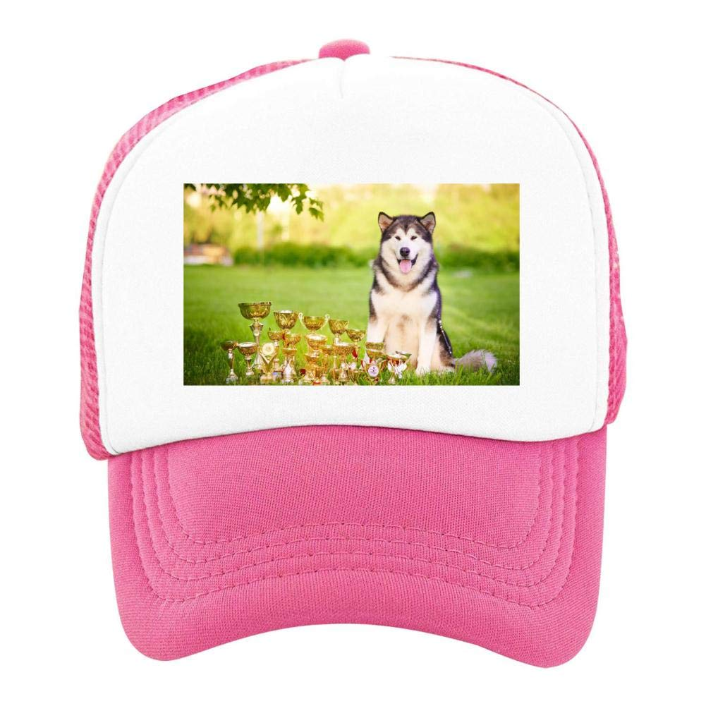 EThomasine Kids Girls Boys Mesh Cap Trucker Hats Alaskan Malamute Adjustable Hat Pink