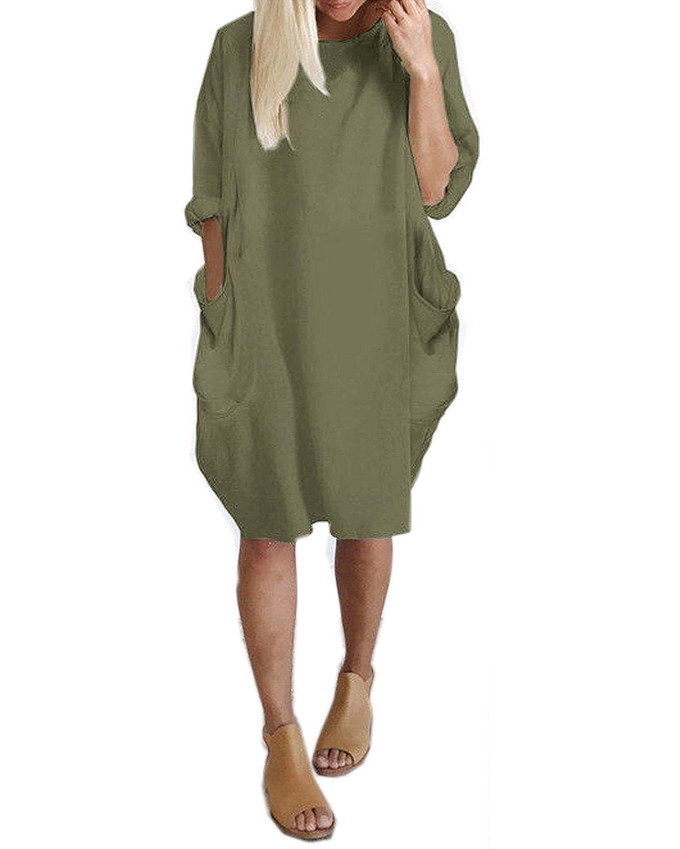 ab2cca38a504 Kidsform Women's Oversized Dress Long/Short Sleeve Tunic Dress Plus Size Shirt  Dress Baggy Pockets Short Jumper Blouse T-Shirt