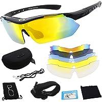 Miriqi gepolariseerde sportbril, fietsbril, sportieve zonnebril, UV400-bescherming voor heren en dames, met 5…