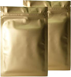 Double-Sided Matte Colored Flat Foil QuickQlick Zip Seal Sample Food Safe Packaging Powdered Storage Bags (0.3oz, Matte Gold)