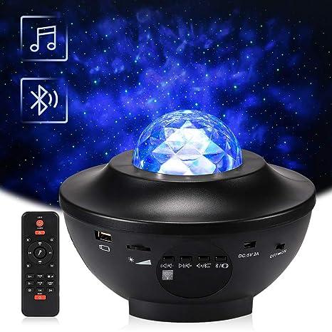 Proyector Giratorio de Luz Estelar, Delicacy LED Cambiar Color Reproductor de Música con Bluetooth y Temporizador, Lámpara Luces Nocturnas de Nebulosa ...