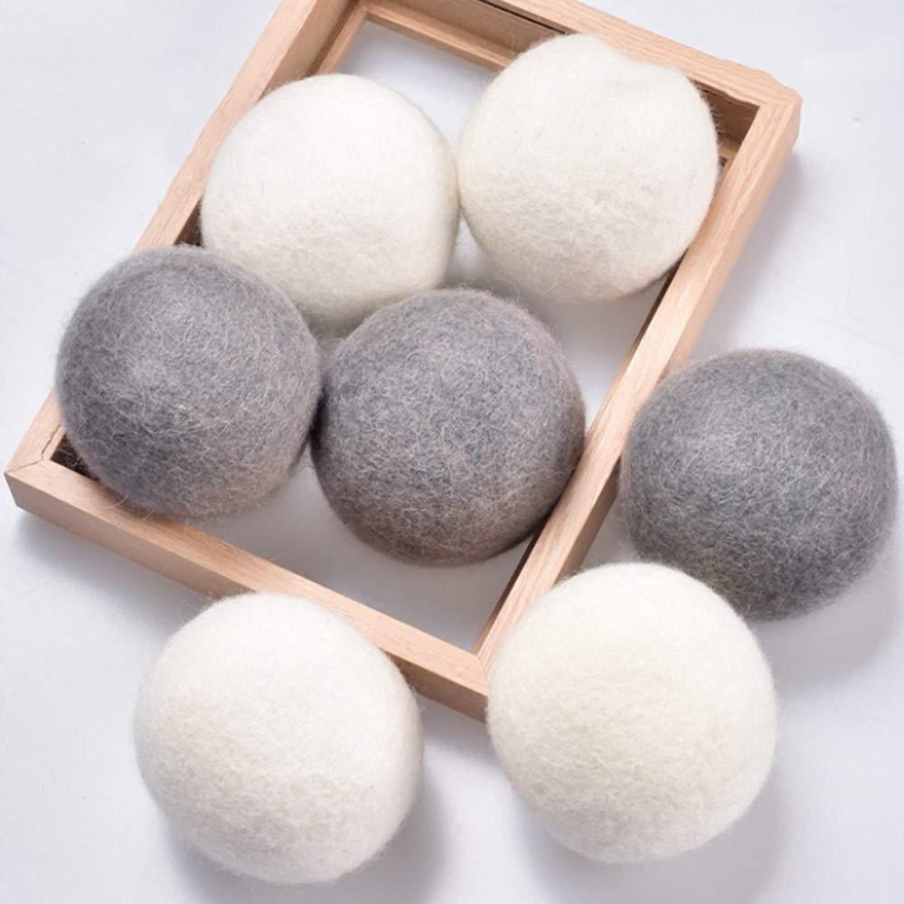 ウール乾燥機ボール|有機タンブル乾燥機ボール|乾燥機ボール洗濯機|再利用可能な天然タンブル乾燥機ボール再利用可能|当然のことながらあなたの服を柔らかくしてふわふわさせます (Color : White, Size : 12pc(6cm)) B07TK26D7B White 12pc(6cm)
