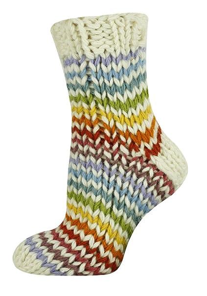 Mysocks® Calcetines de lana tejidos en diseños coloridos blanco Multi arco iris Zigzag: Amazon.es: Ropa y accesorios