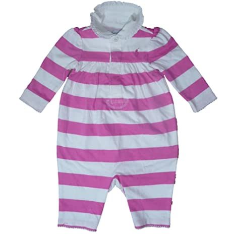 Ralph Lauren Baby Pelele Mono jugador Jumpsuit Rosa Rayas niña 62