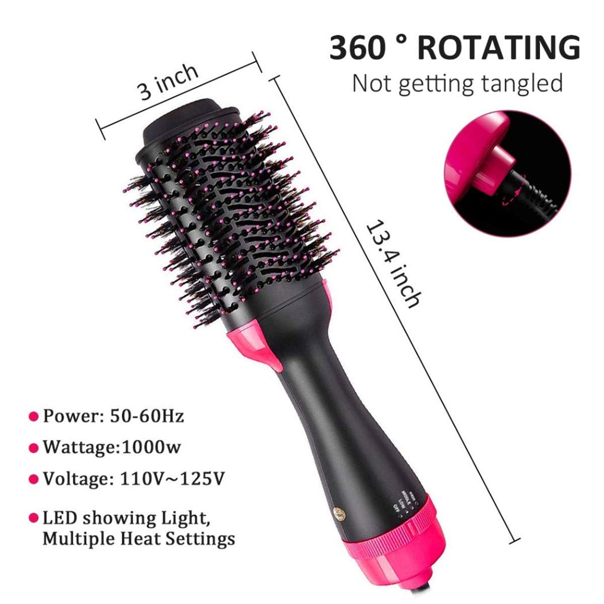 Taixinpower Hot Air Brush, One Step Hair Dryer & Volumizer Hair Straightener Curler 3-IN-1 Negative Ions for All Hair Type, Get Salon Blowouts