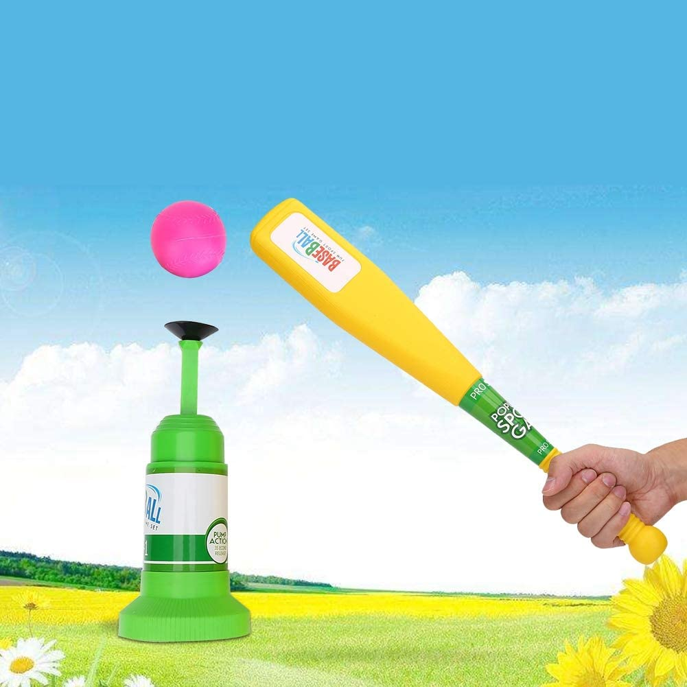 Vbest life Kids Baseball Set Semi-Automatic Launcher Baseballs Baseball Pitching Machine for Children Kids Baseball Training Toys