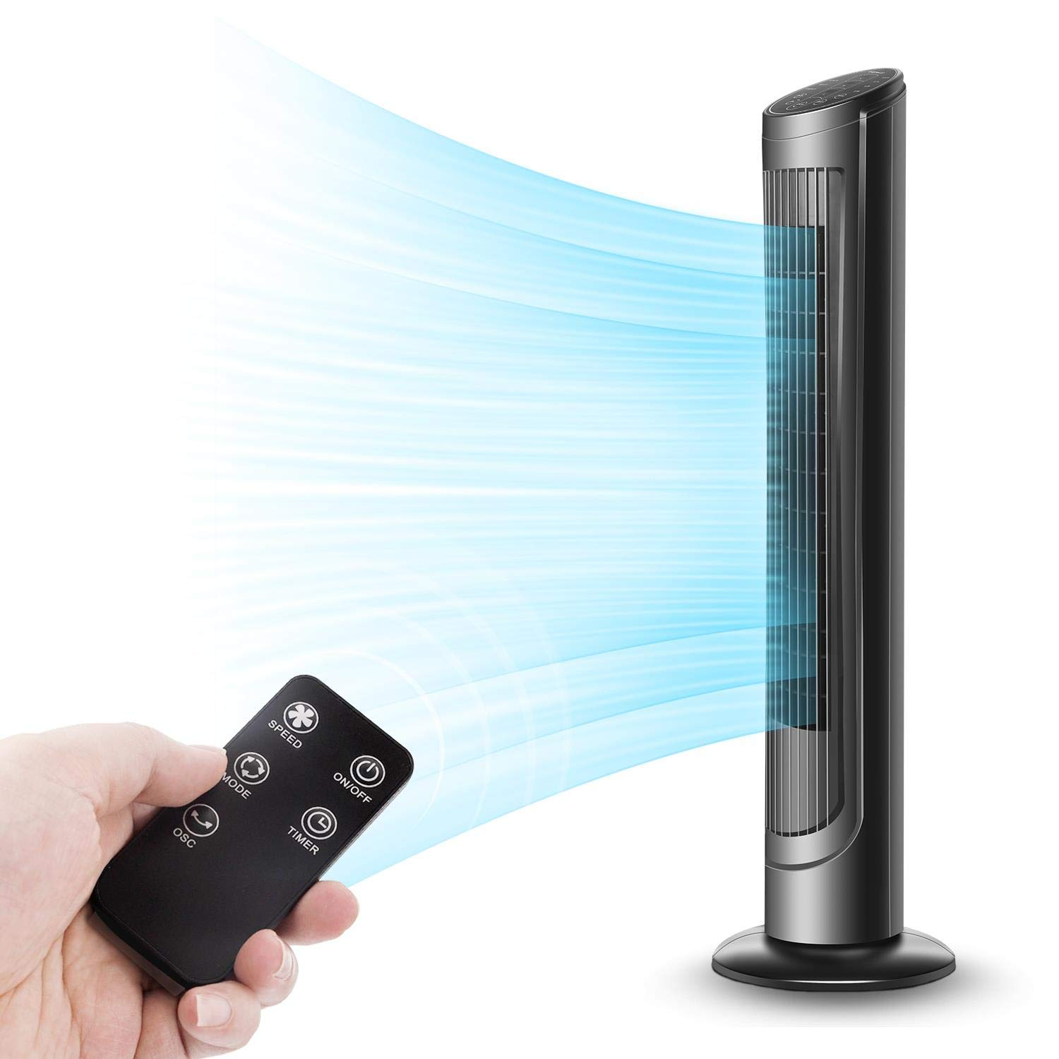 Aigostar Windy, 40'' Oscillating Tower Fan, Bladeless Fans with Remote Control and LCD Display, Standing Cooler Fan, 3 Wind Modes and Speeds, 7.5H Timer for Home Office, Black by Aigostar