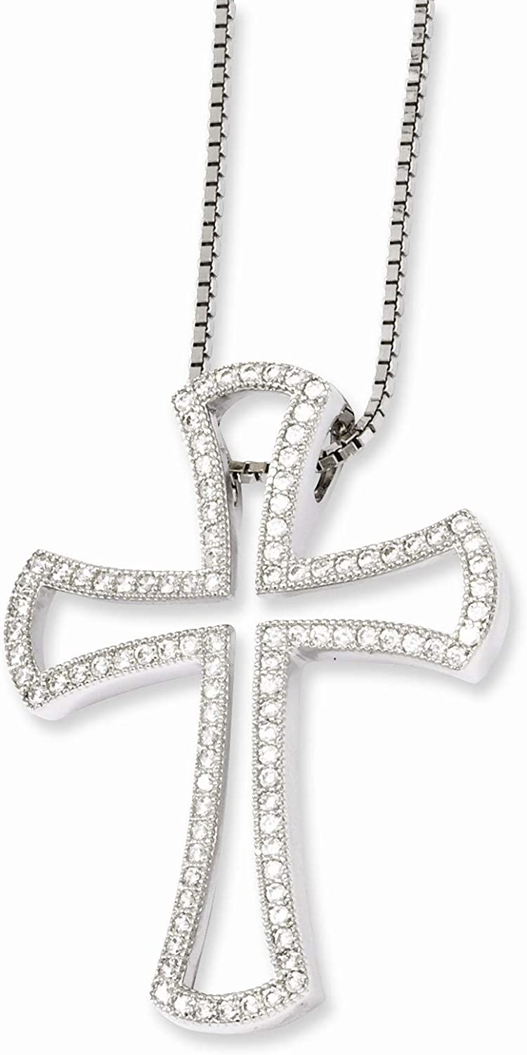 Bonyak Jewelry SS Rhodium-Plated CZ Brilliant Embers Cross Necklace in Sterling Silver