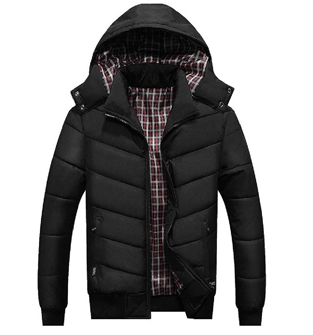 YUNY Mens Cotton Leisure Thickening Hoodie Zipper Trench Coat Jacket 4 3XL