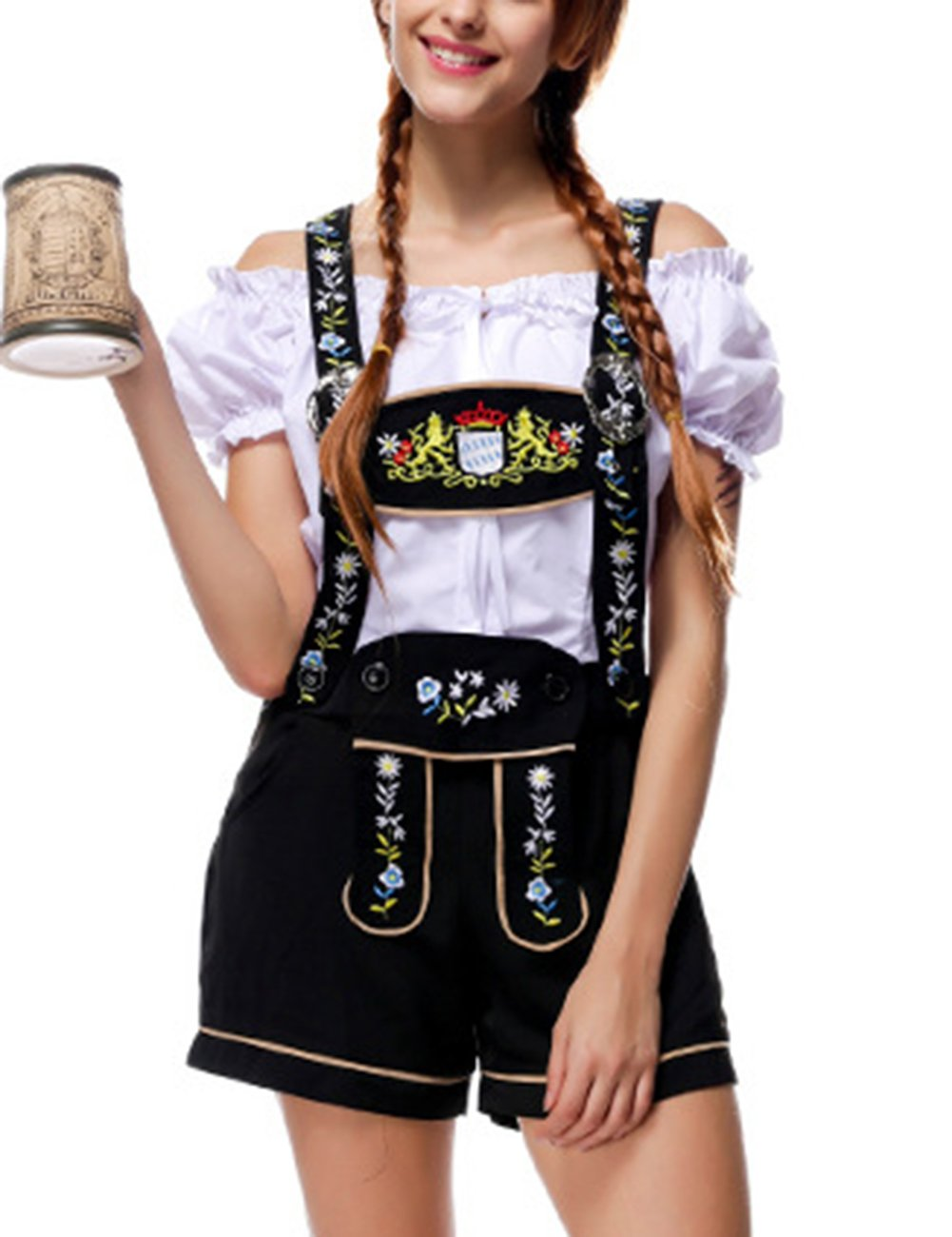 Yiwa Oktoberfest Costumes Women Classic Retro Costumes Sexy Charming Off Shoulder Beer Festival Tops + Suspenders Pants by Yiwa (Image #6)